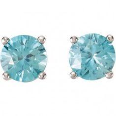 14Kt White Gold Round Blue Zircon Earrings