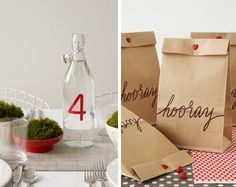 Simple and cute! Water bottle table numbers and party favour bags