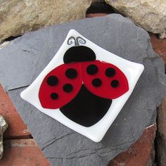Fused Glass Lady Bug Trinket Dish Gently Sloping Sides