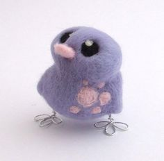 Baby Bird Needle Felted Bird in Lavender and by feltmeupdesigns, £12.50