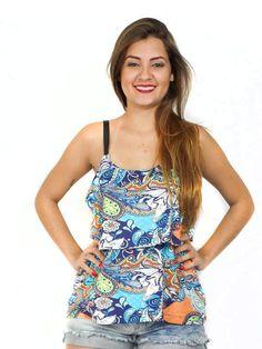 Blusa com alça de couro estampa étnica color. Acesse: http://www.modanaweb.com.br/loja/products.php?product=blusa-com-alca-de-couro-estampa-etnica-color