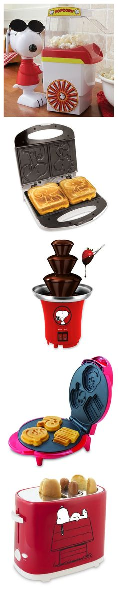 Cute has no calories! Serve up some fun with Snoopy Kitchen Appliances featuring the Chocolate Fountain, Popcorn Cart, Grilled Cheese Maker, Hot Dog Toaster and Waffle Maker. Start shopping at CollectPeanuts.com and help support our site.