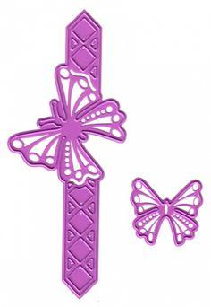 Joy! Crafts Dies - 6002-0042 - Butterfly border Straight  2 dies i pakkenDiesen kutter og embosser og kan brukes i de fleste kuttemaskiner på markedet.