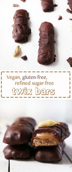 Vegan gluten-free, refined sugar-free TWIX BARS A healthified SNICKER'S Candybar! But not only healthified but also Vegan,Gluten-Free and Refined Sugar-Free! Vegan Candies, Vegan Treats, Vegan Snacks, Healthy Desserts, Vegan Recipes, Diabetic Desserts, Easy Recipes, Healthy Candy, Supper Recipes