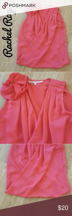 Beautiful coral top!! 100% polyester.  Faux wrap.  Sleeveless.  Silk like msterial.  In great condition.  Non smoking home Rachel Roy Tops Tank Tops