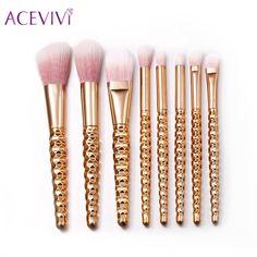 8 Pcs Glitter Makeup Brushes Conjuntos Escovas de Cosméticos Ferramenta Foundation Pó Blush Sombra Delineador Lip Beleza Make up Tools Escova