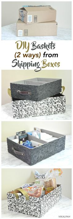 DIY baskets from shipping/cardboard boxes