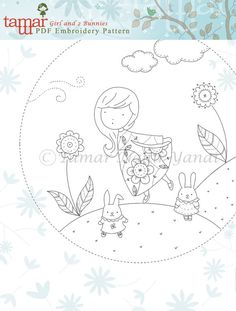 Embroidery pattern baby shower Girl and 2 by TamarNahirYanai