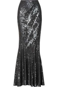 Donna Karan Sequined stretch-jersey maxi skirt | NET-A-PORTER