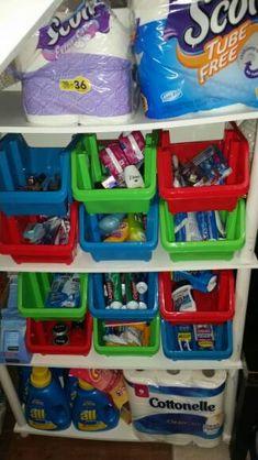 Dollar tree mini storage bins perfect for stock pile organization
