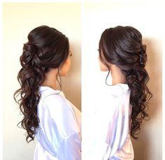 Soft half up half down with curls by @suziekimbridalhair: