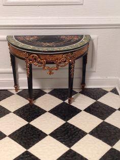 Dollhouse Miniature IGMA Artisan Bluette Maloney Demilune Table Signed