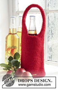 Free knitting patterns and crochet patterns by DROPS Design Knitting Patterns Free, Free Knitting, Crochet Patterns, Free Pattern, Drops Design, Magazine Drops, Wine Bottle Covers, Crochet Wool, Bottle Bag
