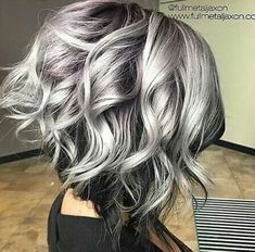 Hairstyles for silver hair hottest curly lob hairstyle silver to black hair color messy 2018 long hair trends, Hairstyles For Silver Hair, brilliant Trendy Hair Cuts inspiration Curly Lob, Curly Hair Styles, Updo Curly, Curly Short, Hair Color For Black Hair, Black And Silver Hair, Silver Ombre Short Hair, Blue Hair, Lilac Hair