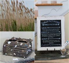 A captain's log of the bride and groom's courtship and a rustic chest decorated with shells for guests' cards