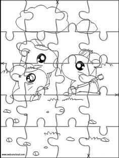 Printable jigsaw puzzles to cut out for kids Hamtaro 25 Coloring Pages