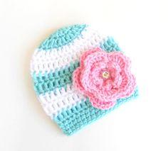 Crochet Baby Hat - Baby Girl Hat - Baby Girl Beanie - Crochet Beanie -aNewborn Hat - Aqua and Pink - Photo Prop