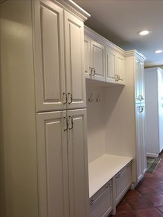 Laundry Nook, Mudroom Laundry Room, Taupe Kitchen Cabinets, Douglas House, Mud Rooms, Built In Desk, Organization Ideas, Home Remodeling, Lockers