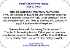 Financial Answers Friday (Mar 1, 2013)