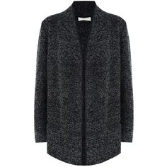 Windsmoor Knitted Open Front Jacket, Dark Grey ($49) ❤ liked on Polyvore featuring outerwear, jackets, short jacket, long jacket, plus size jackets, dark grey jacket and open front jacket