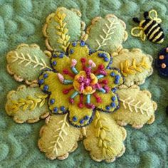 Sampler Series Pattern: Flower Play from Sue Spargo. Folk Art Quilt Quilting Ribbons Supplies Hand Dyed Velvet Wool Electric Quilt CD For Sale Ohio Wool Applique Quilts, Wool Applique Patterns, Wool Quilts, Felt Applique, Crewel Embroidery, Felt Fabric, Fabric Art, Fabric Crafts, Felted Wool Crafts