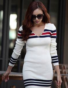 a0aa81ded141 V-Neck Slimming Stripe Print Stretchy Hip Length Long Sleeve Cotton Knit  Dress For Women