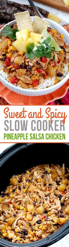 Slow Cooker Sweet and Spicy Pineapple Chicken - crazy good EASY, flavorful sweet, savory and spicy chicken for burrito bowls, salads, burritos. ~ sub out the sugar and use brown rice for an E Crockpot Dishes, Crock Pot Slow Cooker, Slow Cooker Chicken, Slow Cooker Recipes, Cooking Recipes, Healthy Recipes, Crockpot Meals, Slow Cooking, Mexican Food Recipes