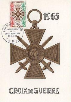 Timbre : CINQUANTENAIRE DE LA CROIX DE GUERRE 1915-1965 | WikiTimbres