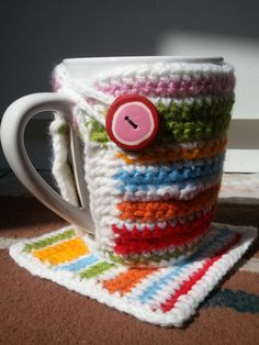 a coffee cozy and matching coaster....very cute gift idea