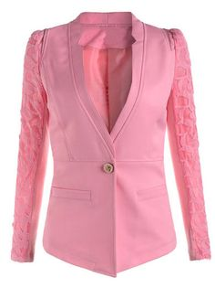 Full Sleeve One Button Lining Slim Solid Blazer Lace Tops on buytrends.com
