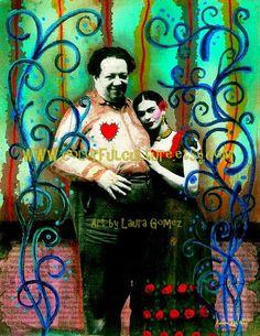 """un Amor la Mexicana""""arte Print por Laura Gómez en archivo mate papel - Frida Kahlo y Diego Rivera arte grabado - arte mexicano"""