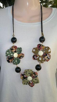 Collar 3 flores kanzashi, Bisutería, Collares, Complementos, Collares
