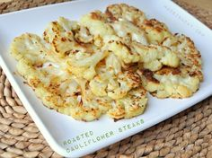 Roasted Cauliflower Steaks, oven roasted vegetables, low Carb vegetable dish, broiled cauliflower, garlic, Parmesan cheese, cut cauliflower into 1 in slices