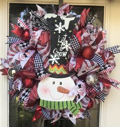 Snowman Let it snow  Christmas wreath by AnAdoorableWreath on Etsy