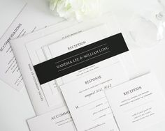 Simple Wedding Invitation Elegant Black and por ShineInvitations, $6.50