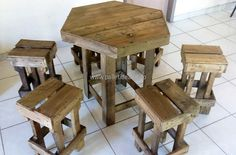 wood pallet table with stools