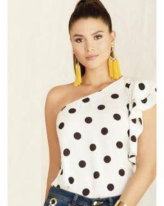 Pretty Woman, Polka Dot Top, One Shoulder, Blouse, Women, Fashion, Pants, Clothing, Ivory