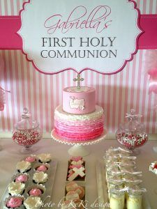 Pink and white stripes backdrop / banner / poster candy buffet / party table for a girl's First Holy Communion. Dark and light pink combination. Banner Backdrop, White Backdrop, Communion Decorations, Communion Cakes, Party Buffet, Pink And White Stripes, First Holy Communion, Backdrops For Parties, Party Desserts