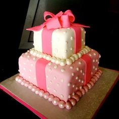 Bridal Shower Cake...would be cute in purple with green ribbon and pearls