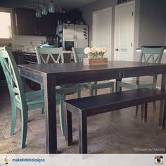 I love how this customer chose a bench instead of only traditional chairs for their dining room table!