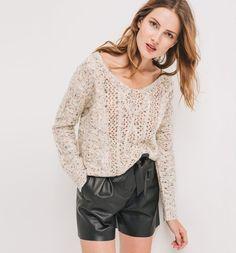 Sweter ażurowy beżowy - Promod