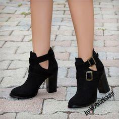 Galenis Süet Siyah Cut Out Bootie #shoes #boots #black