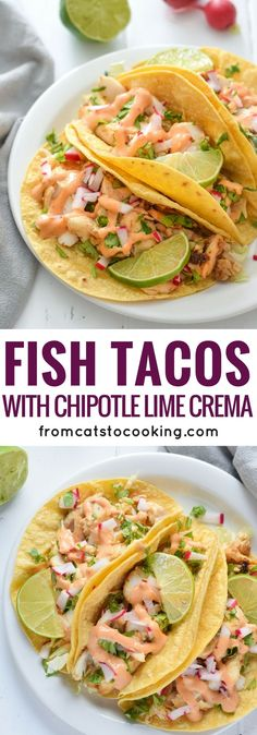 Perfect Made with a bright and creamy chipotle lime crema made with greek yogurt and lime juice, these Fish Tacos take only 15 minutes to make and are gluten free! The post Fish Tacos with Chipotle Lime Crema appeared first on MIkas Recipes . Clean Eating Recipes, Cooking Recipes, Healthy Recipes, Vegetarian Recipes, Healthy Meals, Vegetable Recipes, Dinner Healthy, Easy Meals, Eating Healthy