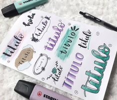 Bullet Journal Headers, Bullet Journal Banner, Bullet Journal Notebook, Bullet Journal School, Bullet Journal Ideas Pages, Bullet Journal Inspiration, Book Journal, Journal Fonts, Stabilo Boss
