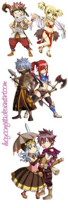 Fairy Tail Chibi (NaLu, JeRza and GrUvia) by LucyConejita.deviantart.com on @deviantART