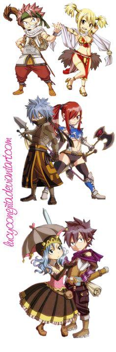 Fairy Tail Chibi (NaLu, JeRza and GrUvia) by LucyConejita.deviantart.com on @deviantART