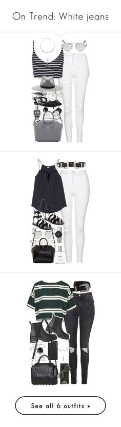 """On Trend: White jeans"" by ferned ❤ liked on Polyvore featuring Topshop, Forever 21, rag & bone, Casio, Yves Saint Laurent, Byredo, Prada, Givenchy, Akira and Skin"
