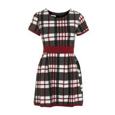 Tartan Banded Dress by Wal G ($49) ❤ liked on Polyvore featuring dresses, wine, tartan dresses, wine dress, tartan plaid dress, topshop and fitted dresses