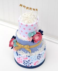 Navy Floral Baby Shower Diaper Cake, Floral Baby Shower Decorations by Baby Blossom Company