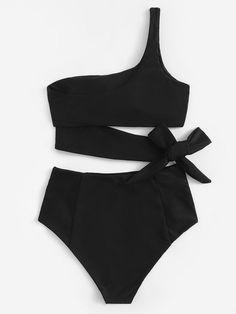 Set of bikini con lazo con un Hombro-Spanish Romwe - Emma Summer Fashion Summer Bathing Suits, Girls Bathing Suits, Summer Suits, Pretty Swimsuits, Women Swimsuits, One Shoulder Bikini, Bikini Outfits, Girls Fashion Clothes, Swimwear Fashion